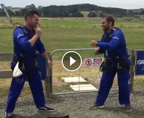 """Radio Hauraki's Matt Ward is jumped out of an airplane with a """"macgyvered"""" parachute!"""