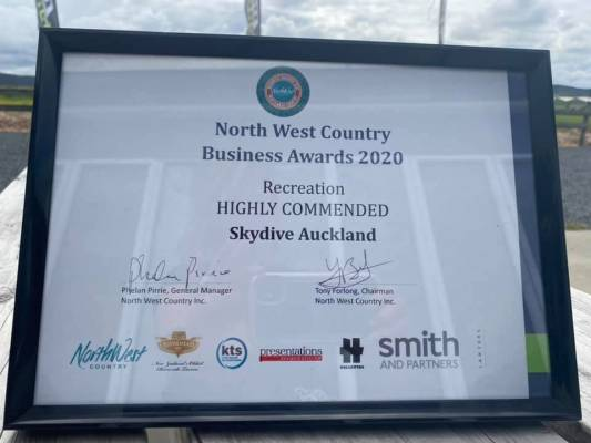 Skydive Auckland Highly Commended At North West Country Business Awards