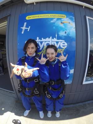 Nathan Lee and Stephy Qi at Skydive Auckland