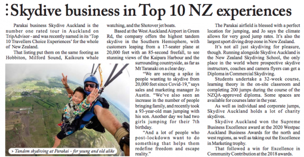 Skydive Auckland - The Best Skydive in New Zealand!