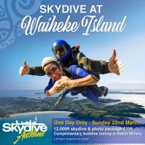 Skydive Auckland at Waiheke Island - The most unique skydive in New Zealand!